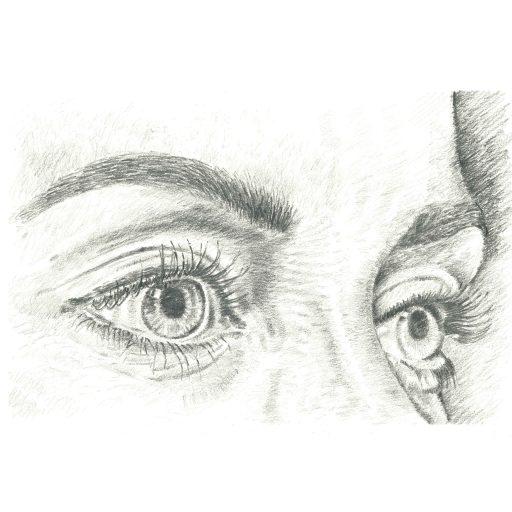 Pencil sketch of female eyes
