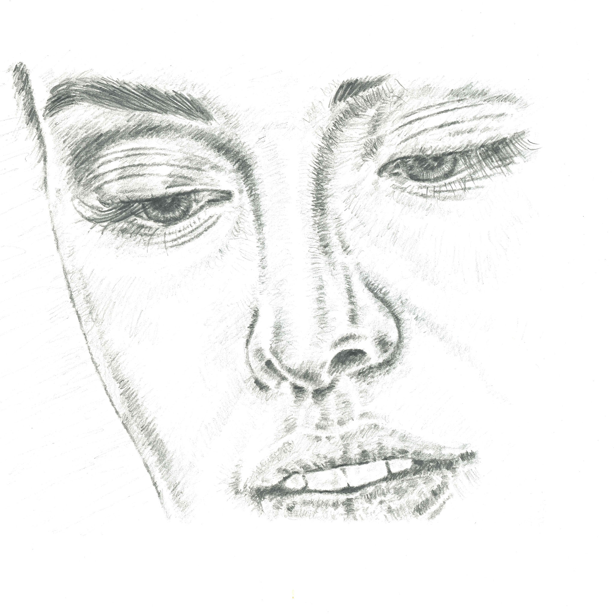 Nose sketch showing eyes