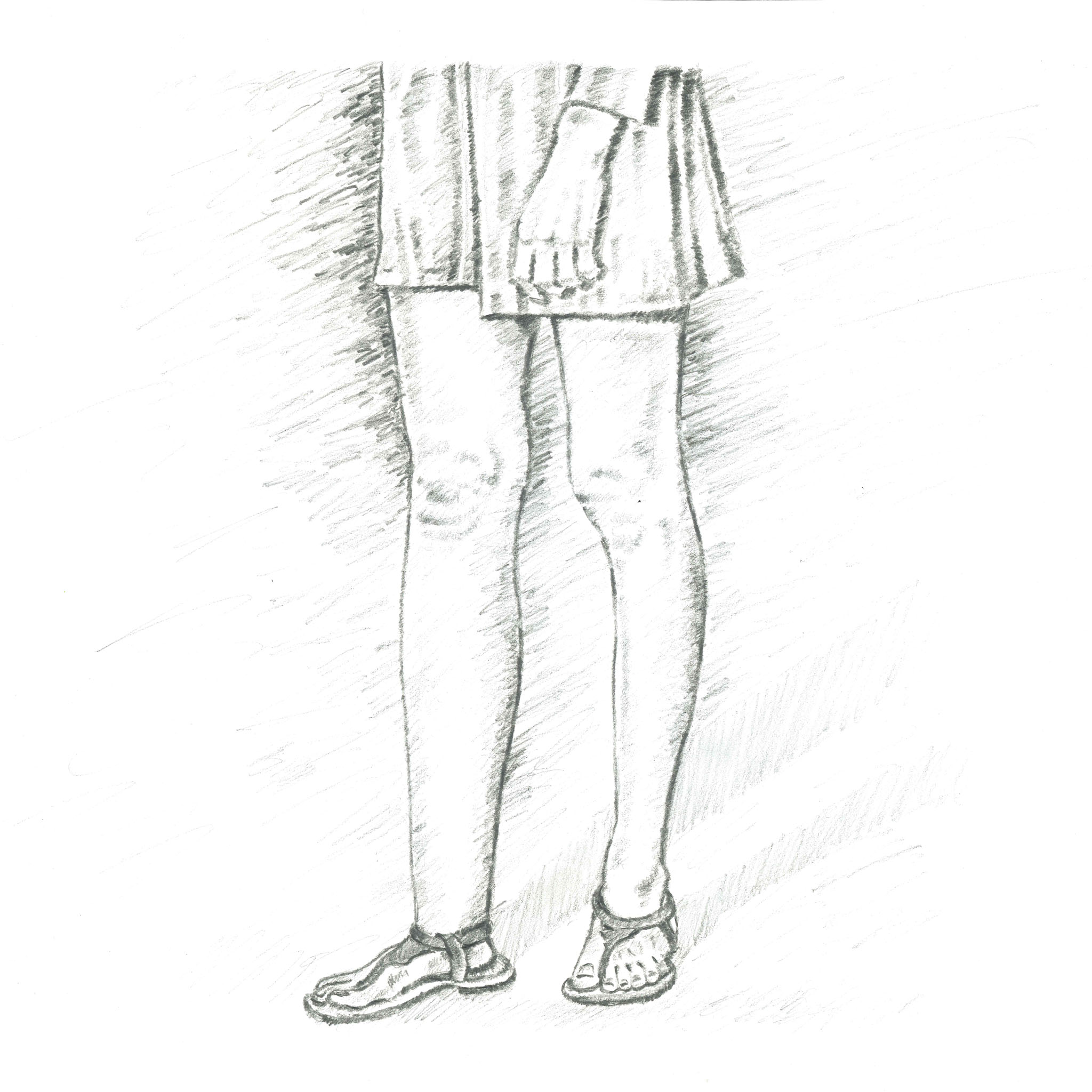 Sketch of woman's legs