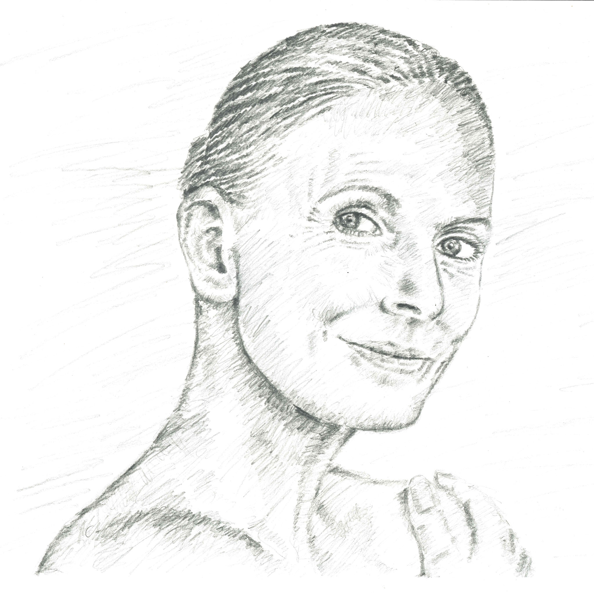 Sketch of woman's face, neck and shoulders